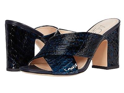 AGL Criss Cross Mule Sandal (Navy Snakeskin) Women