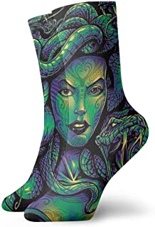 Gorgon Medusa Mythology Mens Printed Funny Novelty Casual Crew Dress Socks For Womens/Unisex