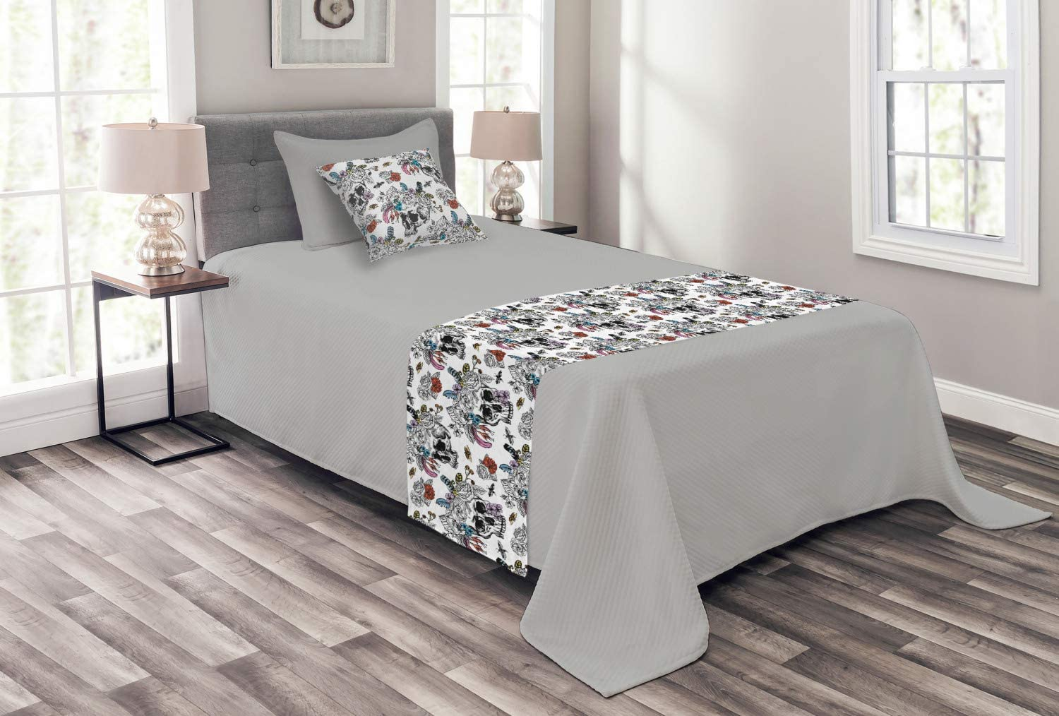 Ambesonne Skull Bed online shopping Runner Set Geometric Hearts Weekly update and Cros Skulls