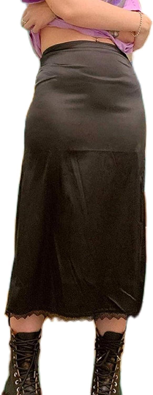 Lace Trim Midi Skirts for Women Girls High Waist Gothic Skirts Vintage Punk Dark Goth ClothesY2K Streetwear