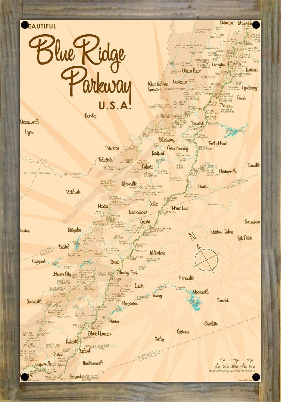 Blue 商品追加値下げ在庫復活 Ridge Parkway 新作販売 Map Metal Print Reclaimed on Lak Wood by Barn