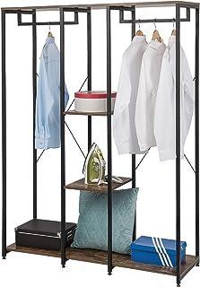 EUGAD 0155XJYJ Portemanteaux Portant avec étagère de Rangement 3 Niveaux Penderie de vêtements avec 2 tringles Solide en B...
