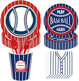 Baseball Party Supplies Set Including Plates, Cups, Napkins, Forks,Spoons,Knives, for Sports Birthday Party Decorations ML...