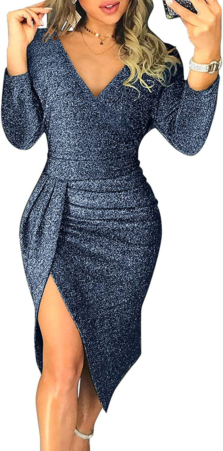 Dokotoo Women V Neck Max 58% OFF Party Club Ruch Glitter Sleeve Long Rare Dresses