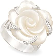 JanKuo Jewelry Rhodium Plated Carved Mother of Pearl Flower with Cubic Zirconia Cocktail Ring