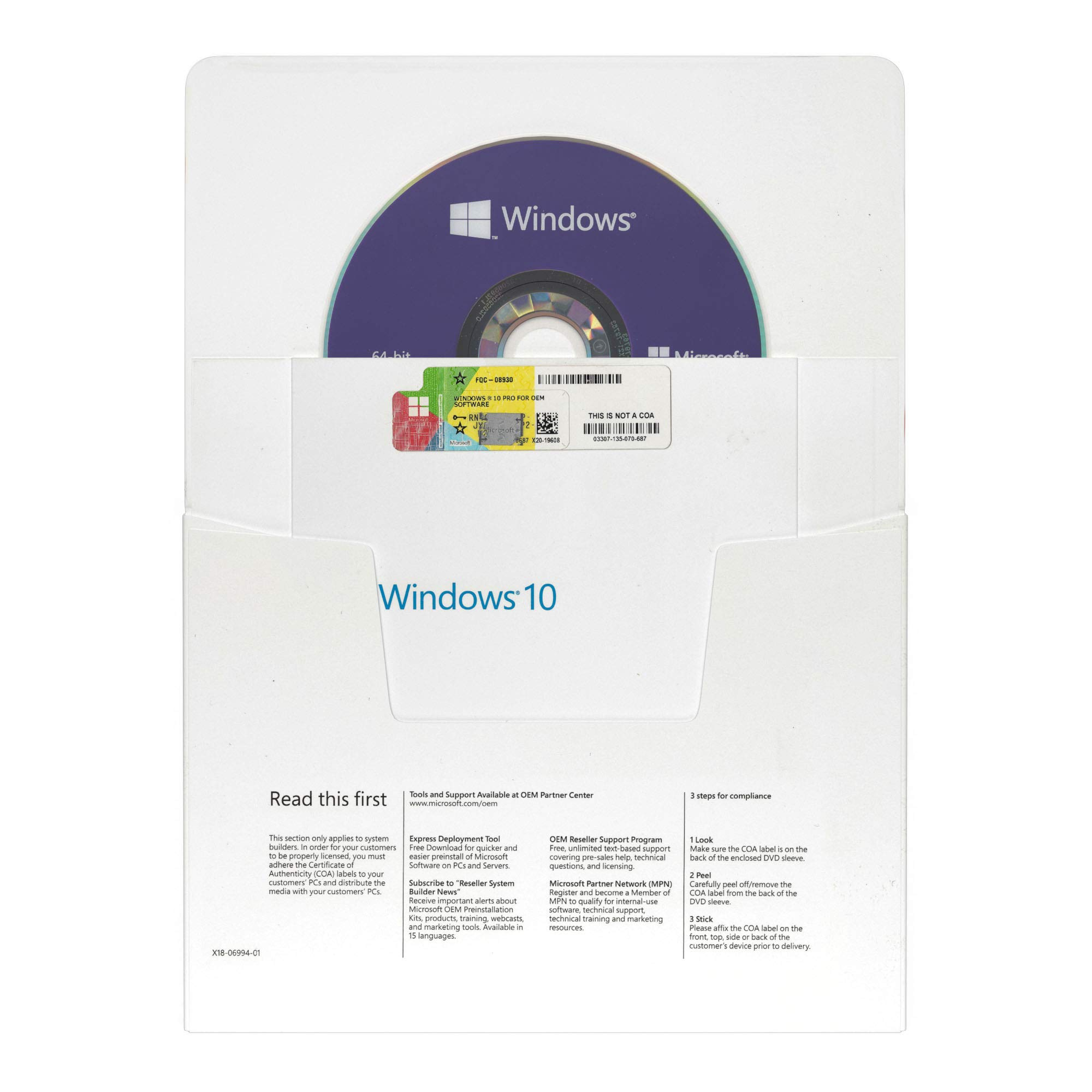 Windows 10 Pro 64 bit OEM DVD – Inglés – Versión Completa – OEM Windows 10 Professional 64 bit: Amazon.es: Electrónica