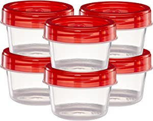 (4 Ounce 10 Pack) Twist cap Deli Containers Clear Bottom With Red Top Screw on Lids Twist Top Food Storage Freezer Containers