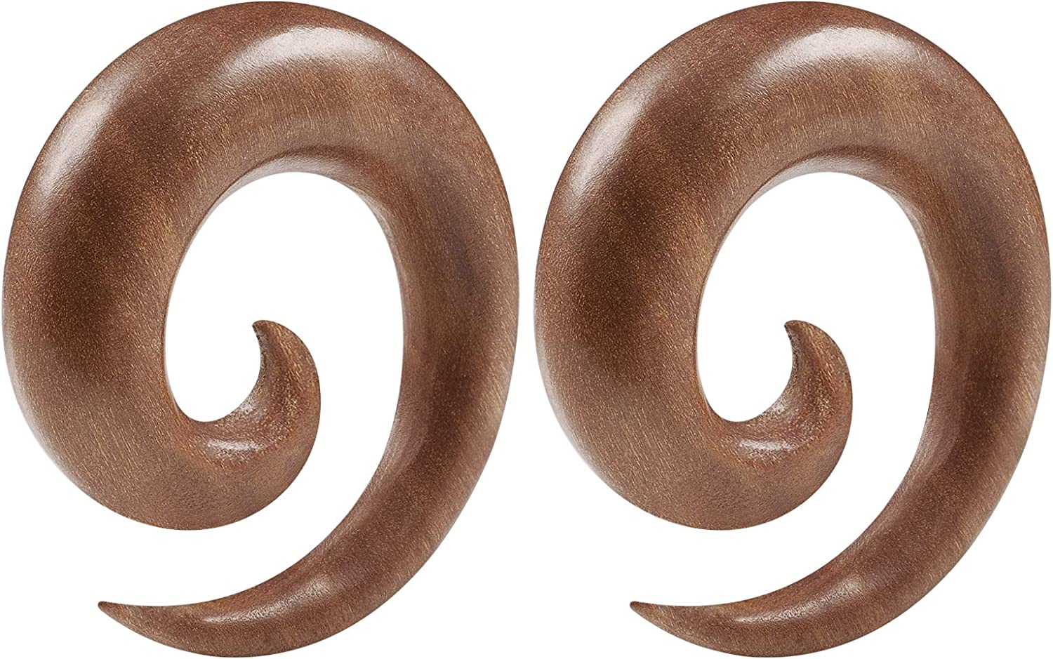 BIG GAUGES Pair of Sawo Wood Spiral Coil Taper Piercing Jewelry Ear Plugs Stretching Expander Earring Stretcher Lobe