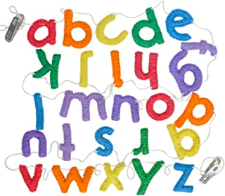 Handmade Wool Felt Alphabet Garland, Lower Case Letters, Rainbow Colors, Great for Colorful Toddlers Birthday Garland Learn Letters and Colors, School Room Decorations, or Play Room Decor