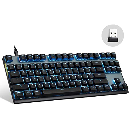 Motospeed 2.4GHz Wireless/Wired Mechanical Keyboard 87Keys Led Backlit Brown Switches Type-C Gaming Keyboard for Gaming and Typing,Compatible for Mac/PC/Laptop