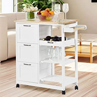 NSdirect Kitchen Island Cart,Industrial Kitchen Bar&Serving Cart Rolling Utility Storage Cart with 3-Tier Wine Rack Shelve...