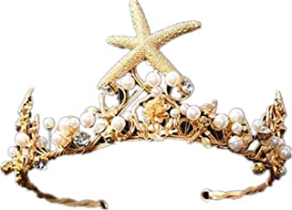 Wiipu Mermaid Starfish Headband Hair Band Wedding Bridal Crown Tiara Jewelry(A1715)