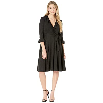 Gabby Skye Ruffle Scuba Crepe Dress w/ Lurex (Black) Women