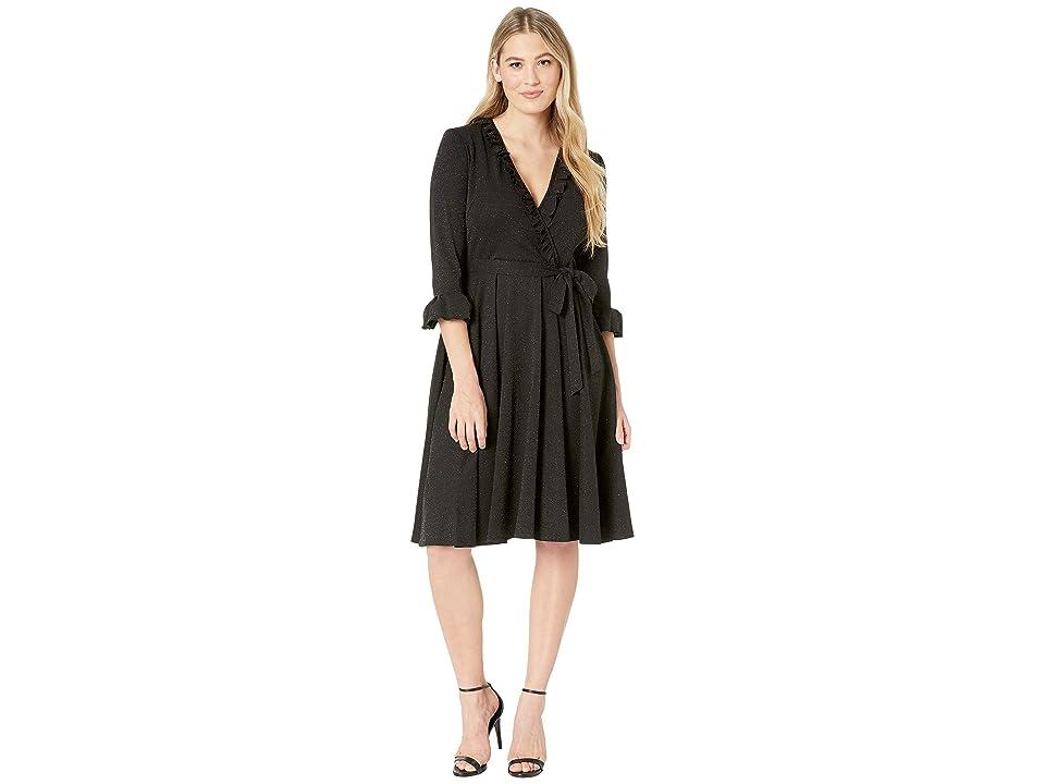 Gabby Skye Ruffle Scuba Crepe Dress w/ Lurex (Black) Women