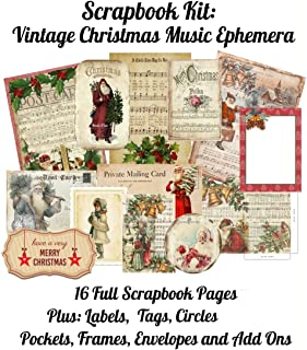 Scrapbook Kit: Vintage Christmas Music Ephemera: 16 Full Scrapbook Pages Plus: Labels, Tags, Circles, Pockets, Frames, Env...