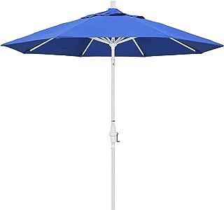 California Umbrella 9' Round Aluminum Market Umbrella, Crank Lift, Collar Tilt, White Pole, Royal Blue Olefin