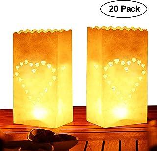 Pack de 20 Linternas Decorativas de Papel Blanco Diseño Corazón por Kurtzy - Decoración Centro de Mesa para Bodas y Cumpleaños- Resistente al Fuego - Linternas Grandes - Usar con Velas de Té o LED