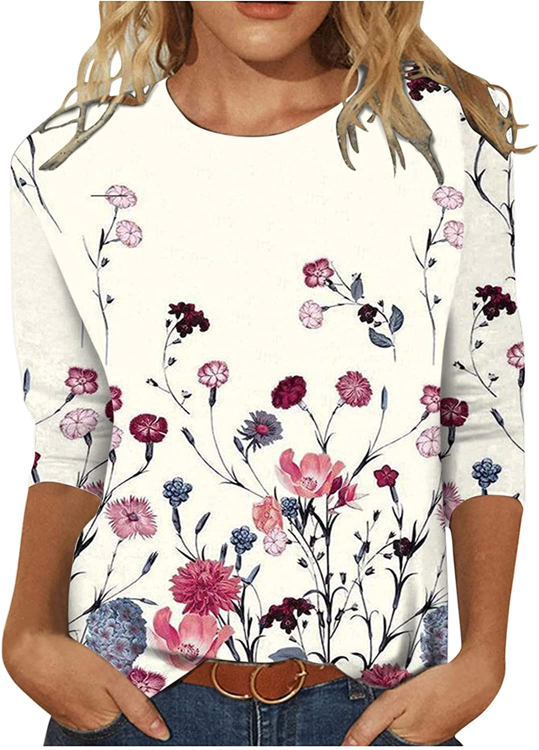 Floral Graphic Tops for Women, Fall Clothes Classic V-Neck Long Sleeve Casual Sweatshirts Pullover