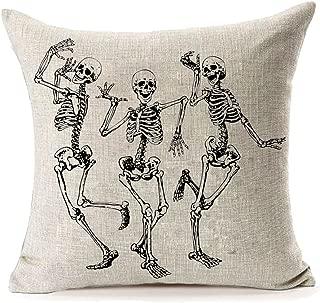 MFGNEH Halloween Skull Pillow Covers, Home Decor Cotton Linen Sofa Throw Pillow Case Cushion Cover 18