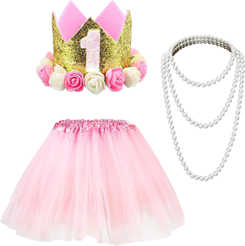 Baby Birthday Set, Baby Princess Crown Hat Pearl Necklace Pink Tutu Skirt