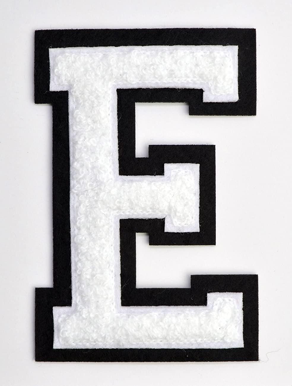 Varsity Letter Patches - White Embroidered Chenille Letterman Patch - 4 1/2 inch Iron-On Letter Initials (White, Letter E Patch)