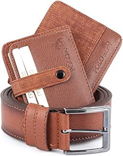 Men's Brown1 Accesories Gift Set Including (Wallet - Belt - Credit Card Holder - Key Chain - Bracelet - Bead Rosary-Box)