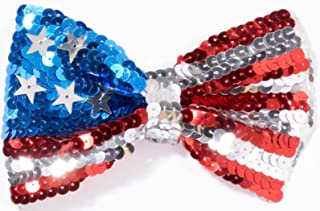 Forum Novelties U.S. Flag Sequin Bow Tie, One Size, Red/White/Blue