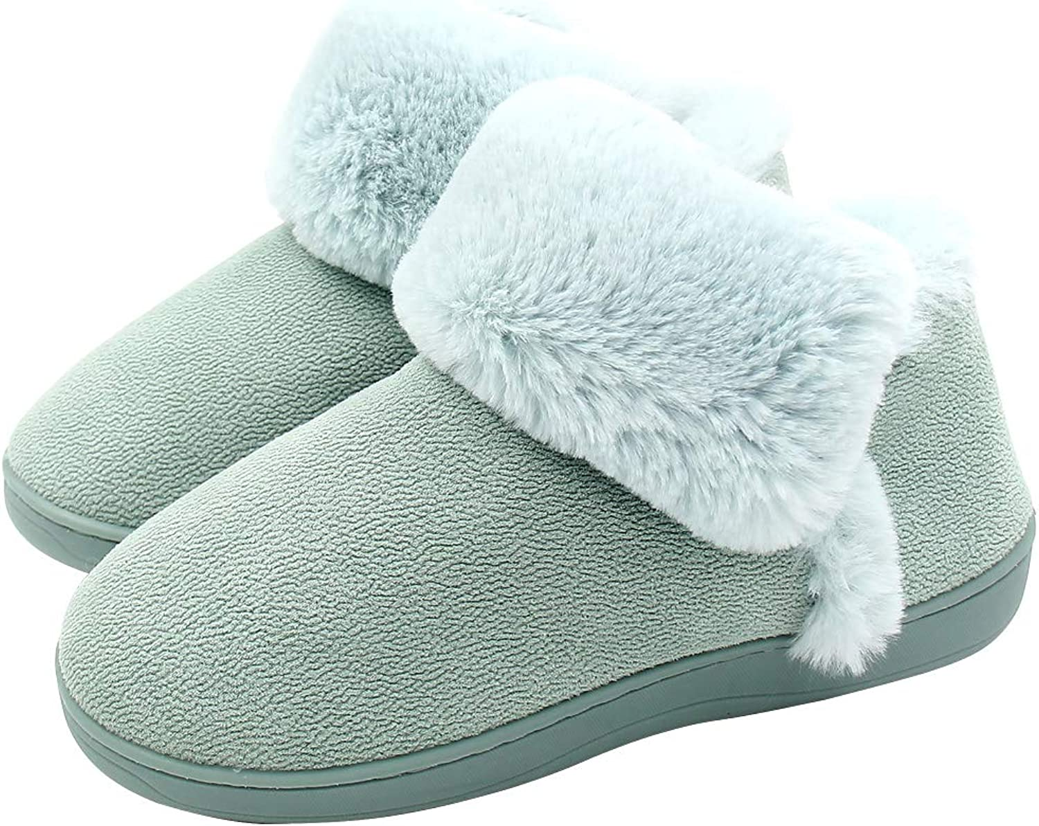 ALOTUS Women's Memory Foam Warm Slipper Ankle Boot with Thick Fur Indoor Outdoor