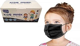 50PCS 3Layer Disposable Face Masks for Children/Kids, Solid Color (Black)