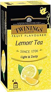 Twinings Lemon Tea, 25 Teabags, Premium Black Tea with Lemon, English Classic Taste, Light Strength, Bright and Zesty Flavor