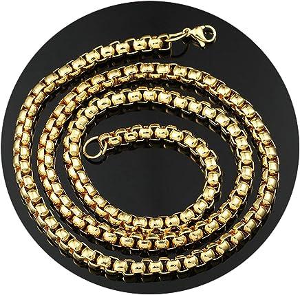 Epinki 7MM Chain Necklace for Men Gold Belcher Chain Hip Hop Chain Gold Men Necklace Length 75CM