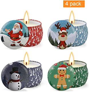 YMing Christmas Scented Candles Gift Set, Christmas Cookie, Apple&Cinnamon, Balsam fir, Lavender, Natural Soy Wax Portable Travel Tin Candles,Gifts for Women for Stress Relief and Aromatherapy
