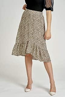 Valleygirl Buttom Down Ruffle Hem MIDI Skirt (325230)