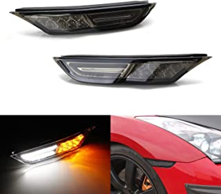 iJDMTOY Smoked Lens White/Amber Dual-Color LED Front Side Marker Light Assy For 2007-2019 Nissan R35 GT-R, Replace OEM Amber Sidemarkers