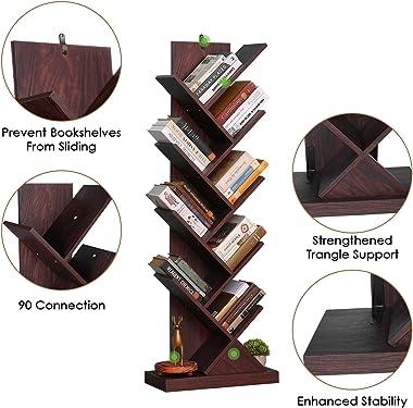 Tree Bookshelf, 9-Shelf Tree Bookcase Wood Bookshelves, Floor Standing Tree Bookcase in Living Room Home Office, Tree Shelf D