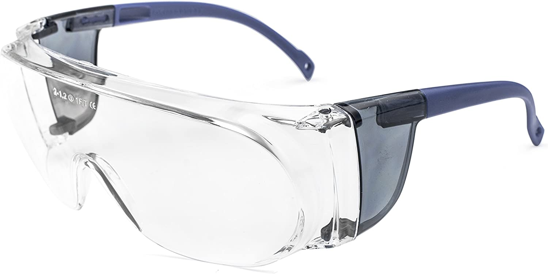 PEGASO 40.9-Gafas Proteccion Gama Anti-Impact Modelo Basic 3 Lente PC Incolora Antivaho, Azul Y Transparente, L