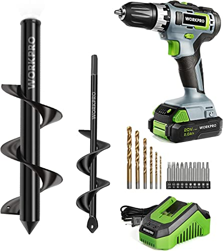 high quality WORKPRO lowest 20V Cordless wholesale Drill/Driver Kit+2-Piece Auger Drill Bit outlet online sale