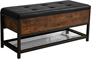 Lazyin Industrial Storage Bench, Shoe Bench with Padded Seat and Metal Shelf, Flip Top Storage Ottoman and Trunk with Padded Seat, Bed End Stool, Hallway Living Room Bedroom, Rustic Brown