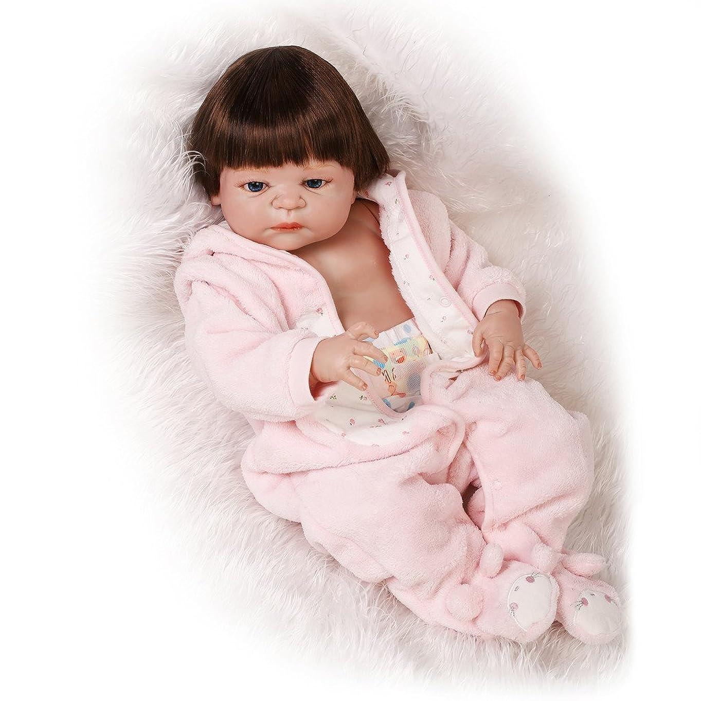 うまくいけば交響曲形NPKDOLL リボーンベビードールハードシミュレーションシリコーンビニール22インチの55センチメートル磁気口リアルなアクリルの目でかわいい防水子供のおもちゃピンクのドレスウィッグ Reborn Baby Doll A1JP