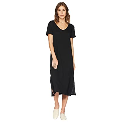 Allen Allen Short Sleeve V-Neck Long Dress (Black) Women