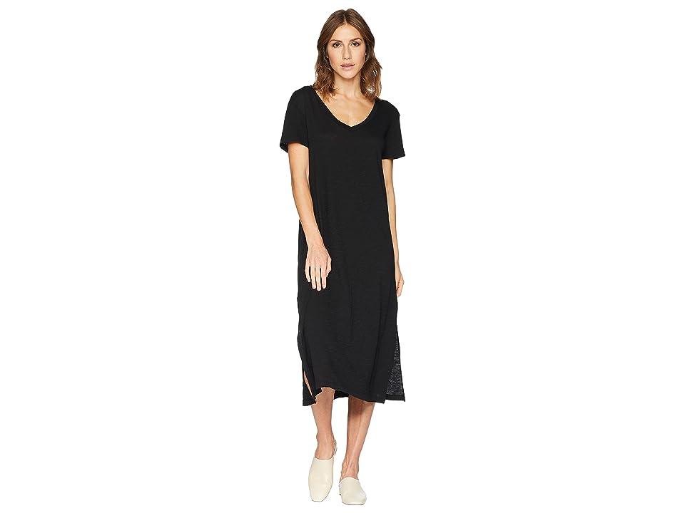 Allen Allen Short Sleeve V-Neck Long Dress (Black) Women