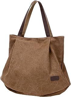 PB-SOAR Damen XXL Vintage Canvas Shopper Schultertasche Handtasche Beuteltasche Freizeittasche Braun
