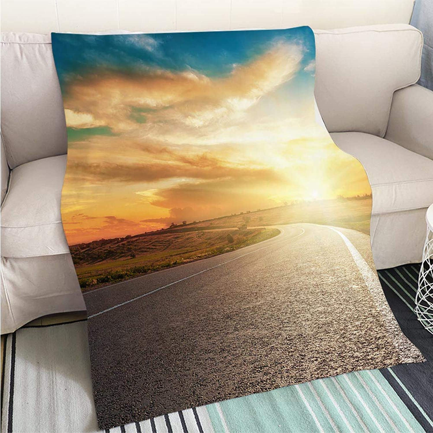 Creative Flannel Printed Blanket for Warm Bedroom Dramatic Sunset and Asphalt Road Perfect for Couch Sofa or Bed Cool Quilt