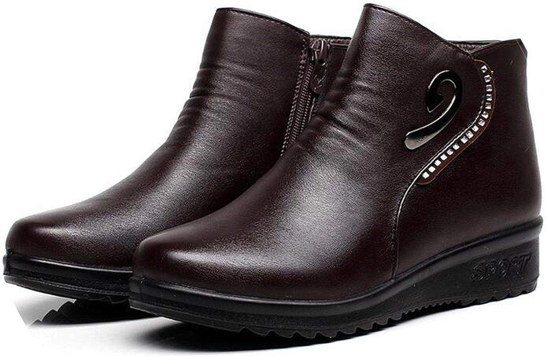 Summer-lavender Mother Diamond Cotton shoes Middle-Aged Cashmere Warm Snow Boots Women Flat Cotton Boots