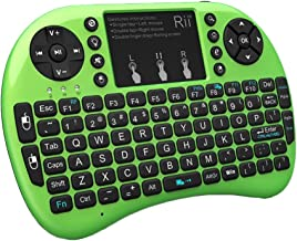 Rii 2.4GHz Mini Wireless Keyboard with Touchpad&QWERTY Keyboard,LED Backlit,Portable Keyboard Wireless for laptop/PC/Tablets/Windows/Mac/TV/Xbox/PS3/Raspberry Pi .(i8+ Green)