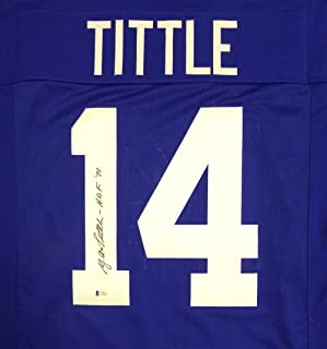 New York Giants Y.A. Tittle Autographed Blue Jersey