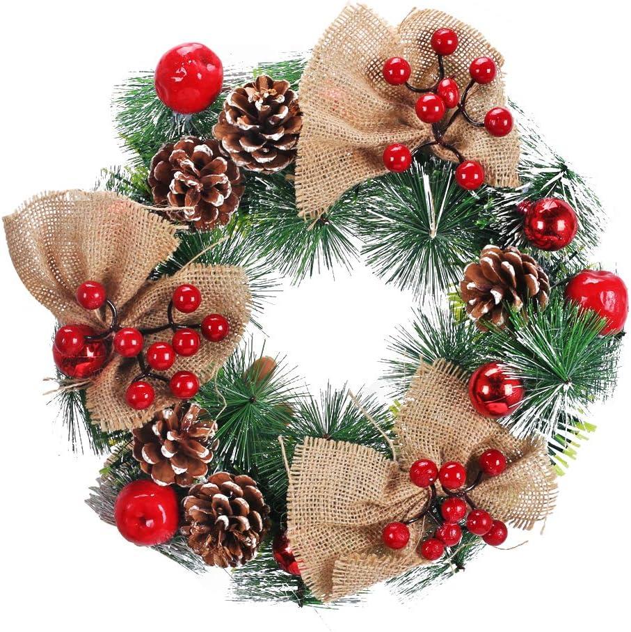 XHXSTORE Guirnalda Navidad con Piñas y Bayas Corona de Navidad para Decoración Interiores y Exteriores Puerta Chimenea Abeto-30CM