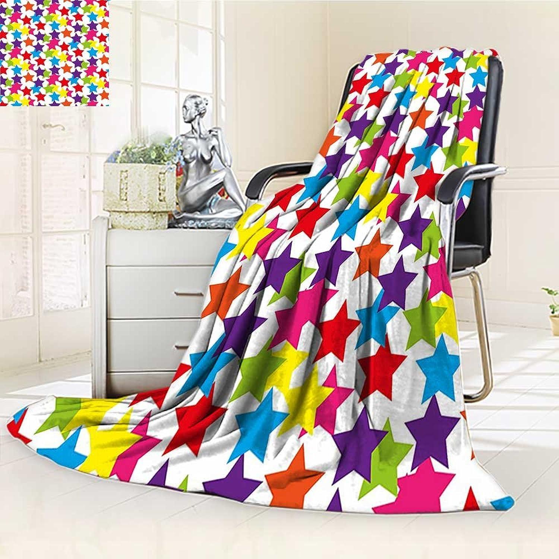 YOYIHOME Original Luxury Duplex Printed Blanket,Modern Little Rainbow colord Funky Stars Kids Nursery Boys Girls Room Art Print Multicolor Extra Soft, Plush, Fluffy, Warm W59 x H47