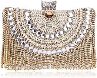 Redland Art Women's Fashion Mini Pearl Beaded Tassel Clutch Bag Wristlet Catching Purse Evening Handbag for Wedding Party (Color : Golden)