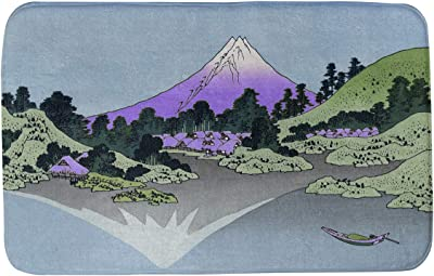 Amazon Com Artverse Katsushika Hokusai Shichiri Beach In Sagami Province In Green And Orange Bath Mat 34 X 21 Green Orange Home Kitchen